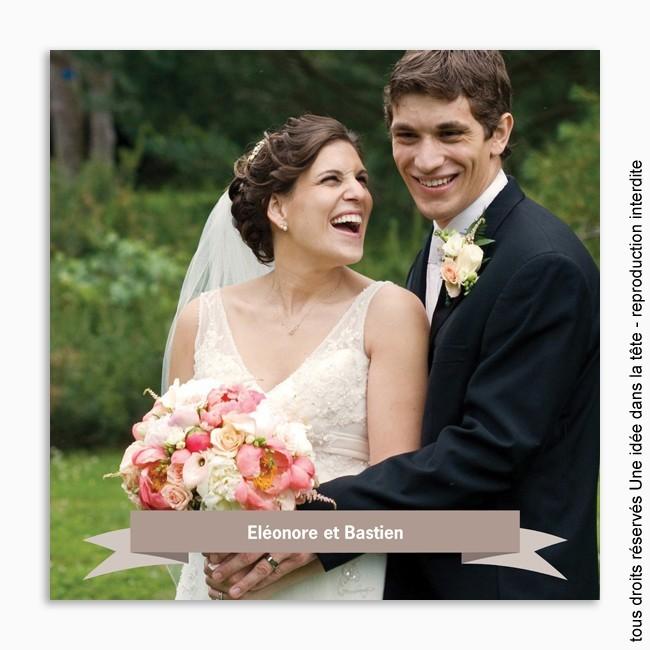 remerciements mariage / classique banderole taupe