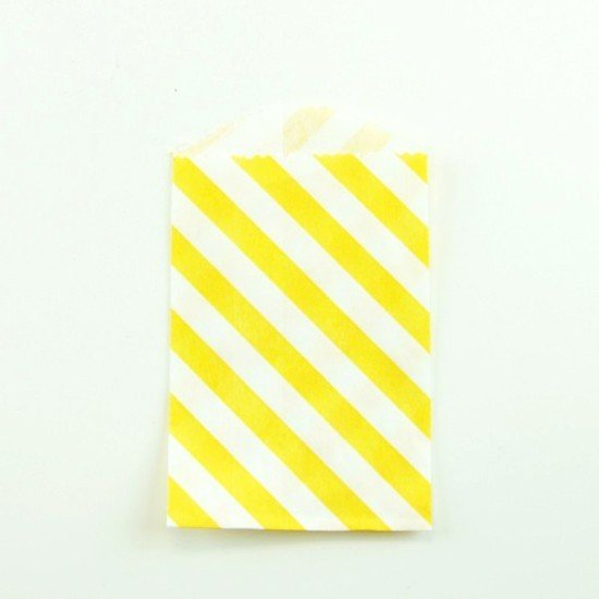 10 sachets en papier / taille S / rayures / jaune