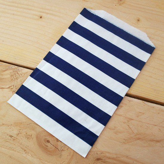 10 sachets en papier / taille M / rayures / bleu marine