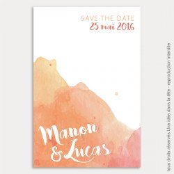 save the date mariage / aquarelle / corail