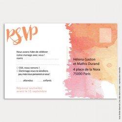 RSVP mariage / aquarelle / corail