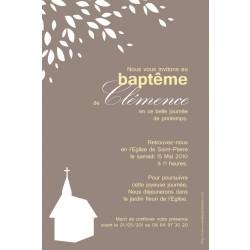 Faire-part Baptême / Eglise sous l'arbre