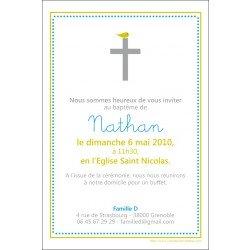 Faire-part Baptême / l'oiseau et la croix - anis/bleu