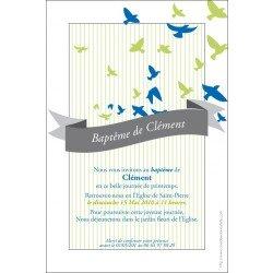 Faire-part Baptême / Envol de colombes - bleu