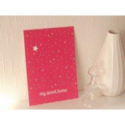 "Carte postale ""my sweet home"" / rose framboise"