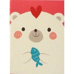 carnet kawaii - ours blanc