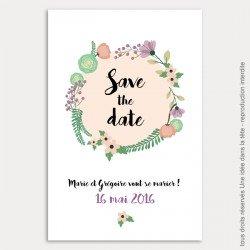 save the date mariage / bouquet de fleurs