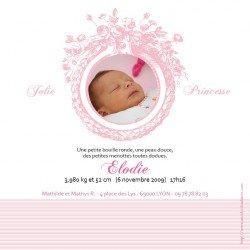 faire-part naissance / Monogramme rose