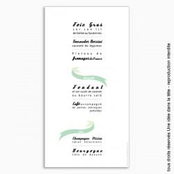 menu mariage vertical / ruban / mint
