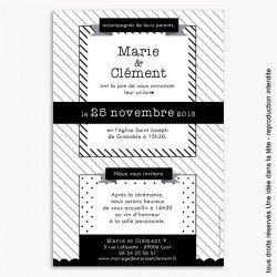 faire-part de mariage / géométrique / noir et blanc