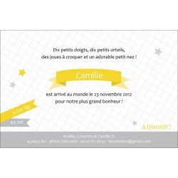 faire-part de naissance / étoiles et banderoles / jaune moutarde