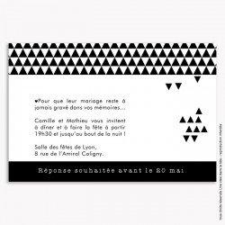 invitation mariage /  géométrique / noir et blanc