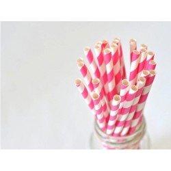 pailles rayures (paper straws) / fushia x10