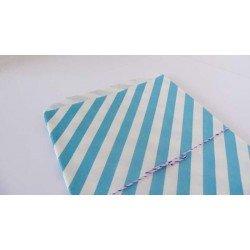 10 sachets en papier / taille L / rayures / bleu