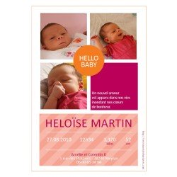 faire-part naissance / Hello baby fuschia