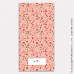 menu mariage vertical / liberty / rose corail