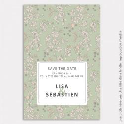save the date mariage / liberty / vert de gris