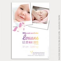 Faire part naissance / jolie licorne