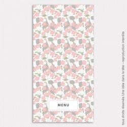menu mariage vertical / liberty / rose poudré
