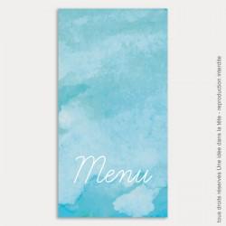 menu mariage vertical / aquarelle / bleu