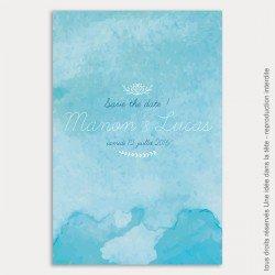 save the date mariage / aquarelle / bleu