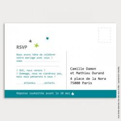 RSVP mariage / étoile / bleu