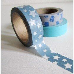 Masking Tape étoiles - bleu grisé