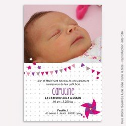 Faire part naissance Moulin à vent / rose et violet