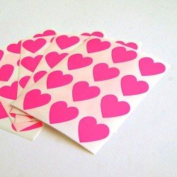 mini stickers coeurs / rose fluo - hot pink