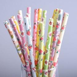 pailles (paper straws) / mix de fleurs x10