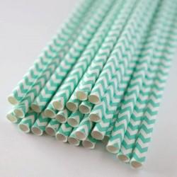 pailles (paper straws) / chevrons bleu aqua x10