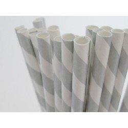 pailles (paper straws) / rayures argentées x10