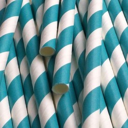 pailles (paper straws) / rayures turquoises x10