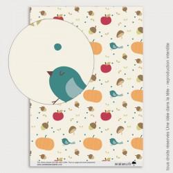 Papier Scrapbooking citrouilles et oiseaux