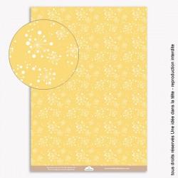papiers scrapbooking les fleurs de pissenlits / fond jaune