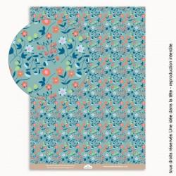 papier scrapbooking Liberty fraises / Bleu