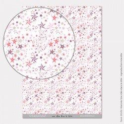 Papier Scrapbooking liberty étoiles / rose