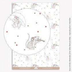 Papier Scrapbooking Noel rouge / souris