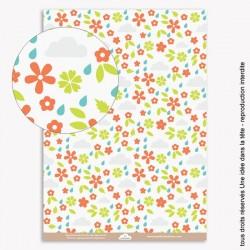 papiers scrapbooking fleurs et nuages / corail