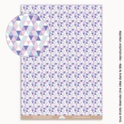 papiers scrapbooking triangles / bleu et mauve