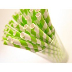 pailles rayures (paper straws) / vert anis x10