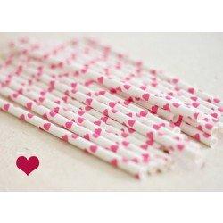 pailles (paper straws) / coeurs roses x10