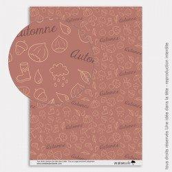 Papier Scrapbooking couleurs d'automne / marrons chauds