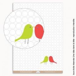 papiers scrapbooking couple d'oiseaux