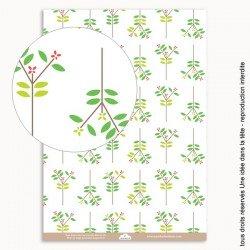 papiers scrapbooking feuilles et fleurs d'été