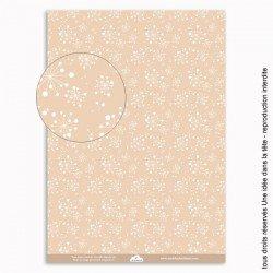 papiers scrapbooking les fleurs de pissenlits / fond beige
