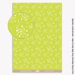 papiers scrapbooking les fleurs de pissenlits / fond vert anis