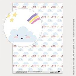 Papier Scrapbooking Licornes / nuages