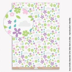 papiers scrapbooking fleurs et nuages / rose et mauve