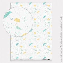 Papier Scrapbooking couleurs d'automne / parapluies bleus